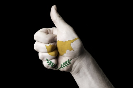 Hand with thumb up gesture colored in cyprus national flag as symbol of excellence, achievement, good, - useful for tourism and touristic advertising and also current positive political, cultural, social management of state or country