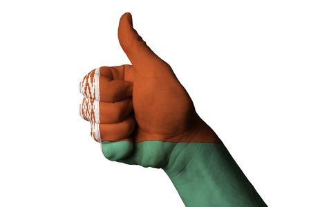 Hand with thumb up gesture colored in belarus national flag as symbol of excellence, achievement, good, - useful for tourism and touristic advertising and also current positive political, cultural, social management of state or country