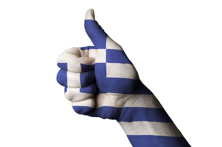 Hand with thumb up gesture colored ingreece national flag as symbol of excellence, achievement, good, - useful for tourism and touristic advertising and also current positive political, cultural, social management of state or country