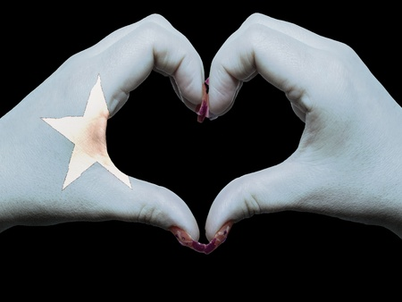 somalian: Gesture made by somalia flag colored hands showing symbol of heart and love