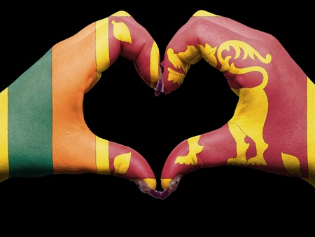 Tourist peru made by sri lanka flag colored hands showing symbol of heart and love Фото со стока