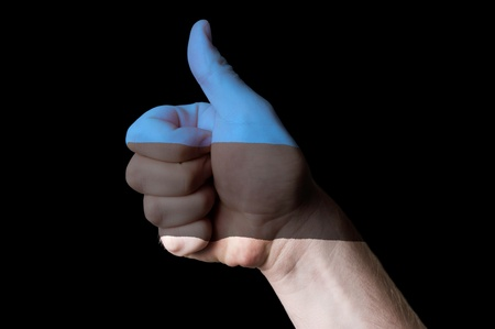 estonian: Hand with thumb up gesture colored in estonia national flag