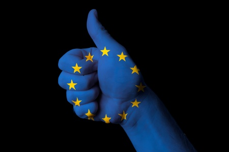 Hand with thumb up gesture colored in europe national flag Stock Photo - 13038624