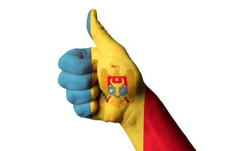 moldovan: Hand with thumb up gesture in colored moldova national flag