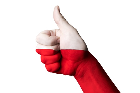 Hand with thumb up gesture in colored poland national flag Stock Photo - 13038627