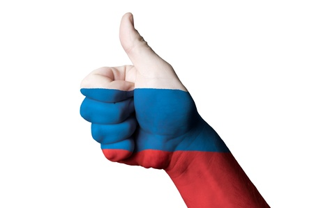 Hand with thumb up gesture in colored russia national flag