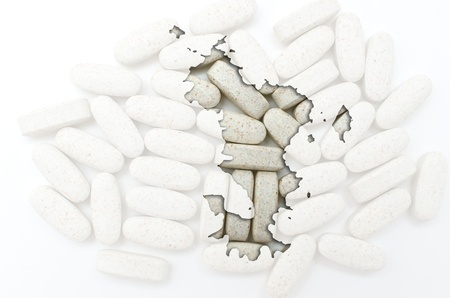 mayotte: Outline mayotte map with transparent background of capsules symbolizing pharmacy and medicine Stock Photo