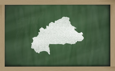 drawing of burkina faso on blackboard, drawn by chalk photo