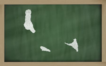 comoros: drawing of comoros on blackboard, drawn by chalk