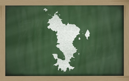 mayotte: drawing of mayotte on blackboard, drawn by chalk
