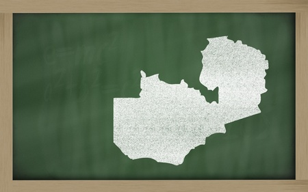 drawing of zambia on blackboard, drawn by chalk Stock Photo