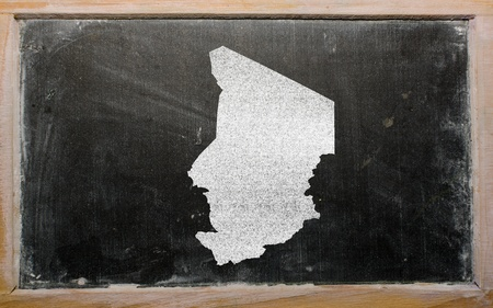 chadian: drawing of chad on blackboard, drawn by chalk