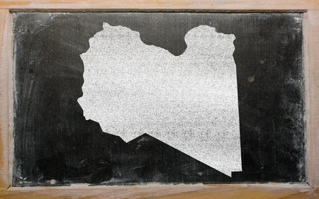 lybia: drawing of lybia on blackboard, drawn by chalk