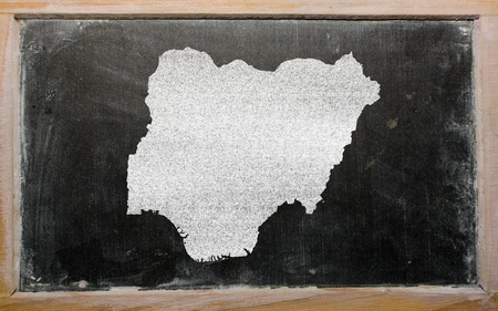 drawing of nigeria on blackboard, drawn by chalk photo