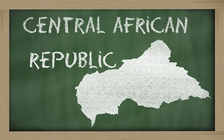 central african republic: drawing of central african republic on blackboard, drawn by chalk