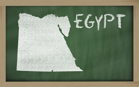 drawing of egypt on blackboard, drawn by chalk Stock Photo - 13207545