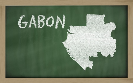 drawing of gabon on blackboard, drawn by chalk Stock Photo - 13207565