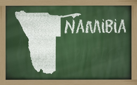 namibia: drawing of namibia on blackboard, drawn by chalk