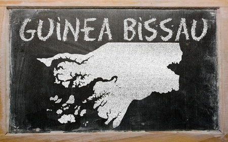 guinea bissau: drawing of guinea bissau on blackboard, drawn by chalk