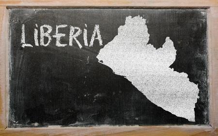 drawing of liberia on blackboard, drawn by chalk Stock Photo - 13205684