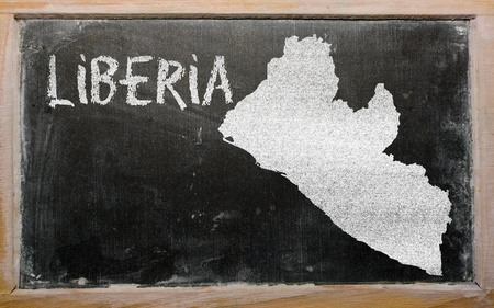 drawing of liberia on blackboard, drawn by chalk Stock Photo - 13205684