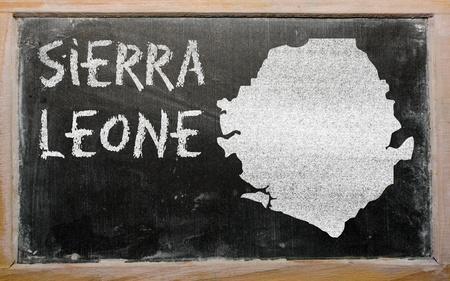 sierra: drawing of sierra leone on blackboard, drawn by chalk