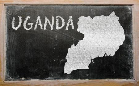 uganda: drawing of uganda on blackboard, drawn by chalk Stock Photo