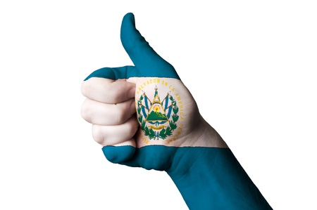 el salvador flag: Hand with thumb up gesture in colored el salvador national flag as symbol of excellence, achievement, good, - for tourism and touristic advertising, positive political, cultural, social management of country Stock Photo