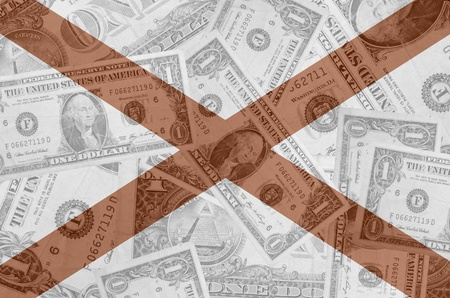 transparent united states of america state flag of alabama with dollar currency in background symbolizing political, economical and social government Stock Photo - 13207476