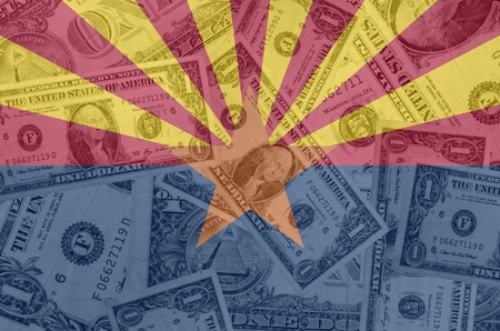 indebtedness: transparent united states of america state flag of arizona with dollar currency in background symbolizing political, economical and social government Stock Photo