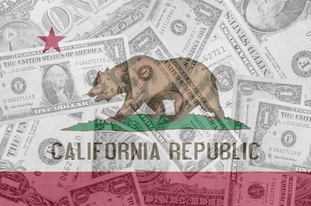 us dollar: transparent united states of america state flag of california with dollar currency in background symbolizing political, economical and social government