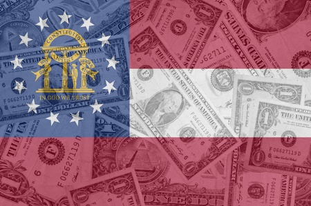 transparent united states of america state flag of georgia with dollar currency in background symbolizing political, economical and social government photo