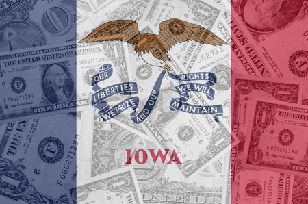 establishment states: transparent united states of america state flag of iowa with dollar currency in background symbolizing political, economical and social government
