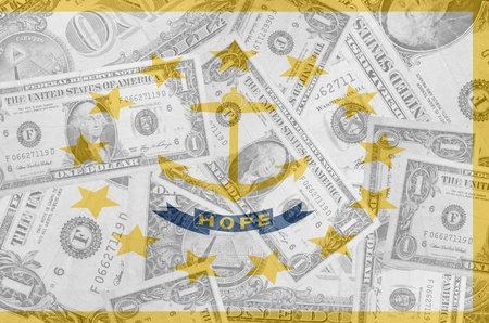 establishment states: transparent united states of america state flag of rhode island with dollar currency in background symbolizing political, economical and social government