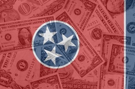indebtedness: transparent united states of america state flag of tennessee with dollar currency in background symbolizing political, economical and social government