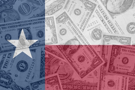 indebtedness: transparent united states of america state flag of texas with dollar currency in background symbolizing political, economical and social government