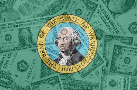 establishment states: transparent united states of america state flag of west washington with dollar currency in background symbolizing political, economical and social government Stock Photo