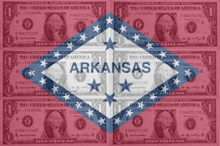 transparent united states of america state flag of arkansas with dollar currency in background symbolizing political, economical and social government photo