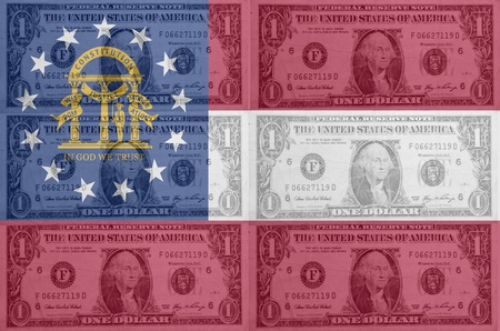 establishment states: transparent united states of america state flag of georgia with dollar currency in background symbolizing political, economical and social government