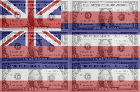 transparent united states of america state flag of hawaii with dollar currency in background symbolizing political, economical and social government photo