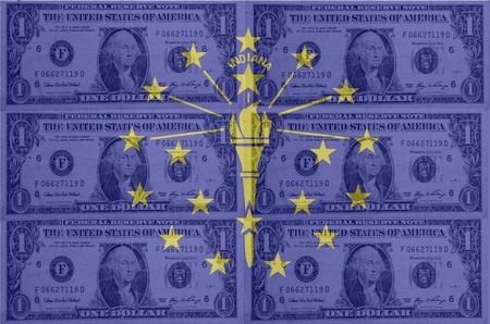 transparent united states of america state flag of indiana with dollar currency in background symbolizing political, economical and social government Stock Photo - 13207437