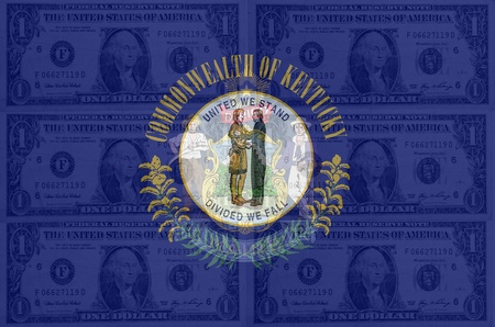 transparent united states of america state flag of kentucky with dollar currency in background symbolizing political, economical and social government photo