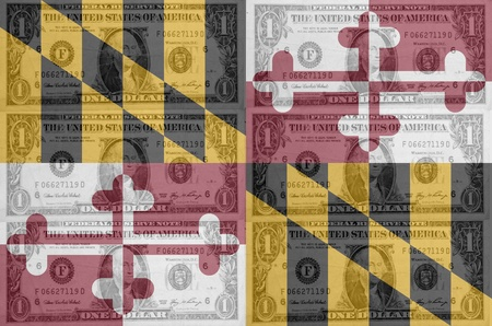 transparent united states of america state flag of maryland with dollar currency in background symbolizing political, economical and social government photo