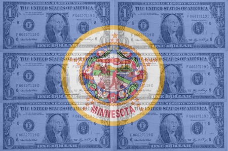 indebtedness: transparent united states of america state flag of minnesota with dollar currency in background symbolizing political, economical and social government