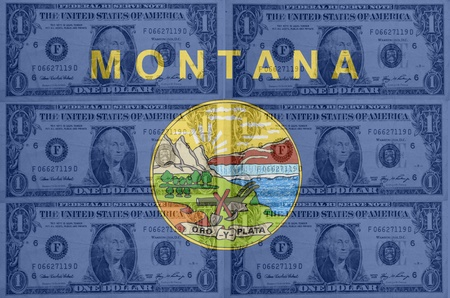 establishment states: transparent united states of america state flag of montana with dollar currency in background symbolizing political, economical and social government Stock Photo