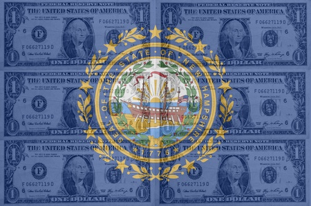 transparent united states of america state flag of new hampshire with dollar currency in background symbolizing political, economical and social government Stock Photo - 13206577