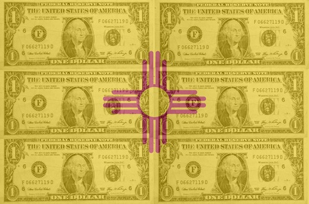 establishment states: transparent united states of america state flag of new mexico with dollar currency in background symbolizing political, economical and social government Stock Photo