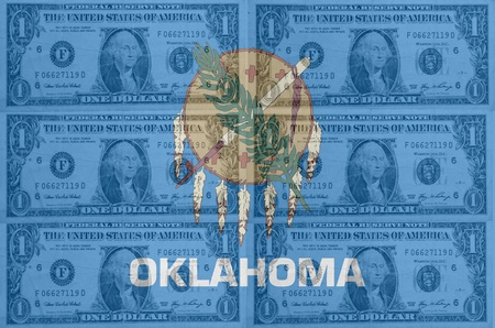 indebtedness: transparent united states of america state flag of oklahoma with dollar currency in background symbolizing political, economical and social government