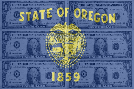 indebtedness: transparent united states of america state flag of oregon with dollar currency in background symbolizing political, economical and social government Stock Photo