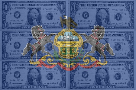 indebtedness: transparent united states of america state flag of pennsylvania with dollar currency in background symbolizing political, economical and social government Stock Photo